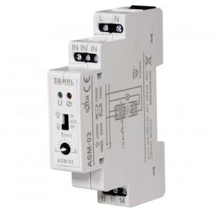 Zamel Exta ASM-03 - Automat schodowy z funkcją przeciwbllokady i opcją ręcznego załączania 230V AC, Montaż na szynie TH - Podgląd zdjęcia nr 1