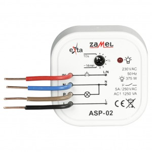 Zamel Exta ASP-02 - Automat schodowy z funkcją przeciwbllokady 230V AC, Montaż w puszcze p/t fi60 - Podgląd zdjęcia nr 2