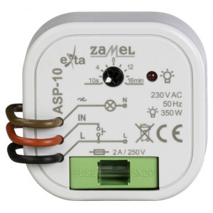 Zamel Exta ASP-10 - Automat schodowy z inteligentną z funkcją przeciwbllokady i płynną regulacją rozjasniania 230V AC, Montaż w puszcze p/t fi60 - Podgląd zdjęcia nr 2