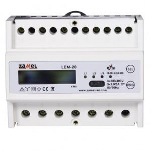 Zamel Exta LEM-20 - Cyfrowy, Trójfazowy licznik energii elektrycznej MODBUS RS485, Montaż na szynie TH - Podgląd zdjęcia nr 2
