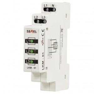 Zamel Exta LKM-01-20 - Wskaźnik zasilania - Kontroli faz typu LED w kolorze zielonym (3-fazowy: L1, L2, L3) - Podgląd zdjęcia nr 1
