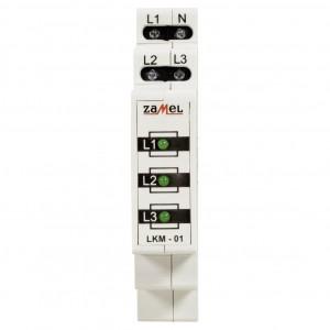 Zamel Exta LKM-01-20 - Wskaźnik zasilania - Kontroli faz typu LED w kolorze zielonym (3-fazowy: L1, L2, L3) - Podgląd zdjęcia nr 2