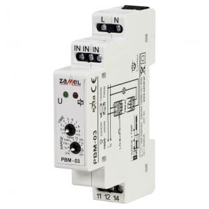 Zamel Exta PBM-03 - Przekaźnik bistabilny z nastawą czasu pracy 230V AC, Montaż na szynie TH (Zakres nastawy czasu pracy 0,1s-10dni) - Podgląd zdjęcia nr 1