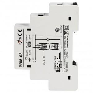 Zamel Exta PBM-03 - Przekaźnik bistabilny z nastawą czasu pracy 230V AC, Montaż na szynie TH (Zakres nastawy czasu pracy 0,1s-10dni) - Podgląd zdjęcia nr 4