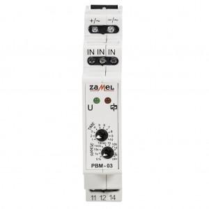 Zamel Exta PBM-03/24V - Przekaźnik bistabilny z nastawą czasu pracy 24V AC/DC, Montaż na szynie TH, Zakres nastawy czasu pracy 0,1s-10dni - Podgląd zdjęcia nr 2
