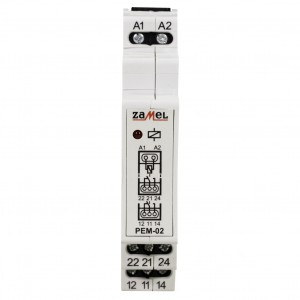 Zamel Exta PEM-02/012 - Przekaźnik dwutorowy z cewką 12V AC/DC, Montaż na szynie TH - Podgląd zdjęcia nr 2