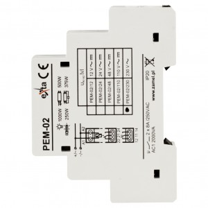 Zamel Exta PEM-02/230 - Przekaźnik dwutorowy z cewką 230V AC/DC, Montaż na szynie TH - Podgląd zdjęcia nr 4