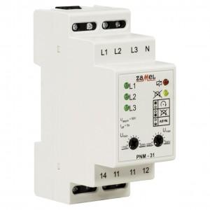 Zamel Exta PNM-31 - Przekaźnik napięciowy kontrolujący napięcie w sieci 3-fazowej, złą kolejną faz oraz asymetrię napięcia (Umin: 170-225V AC, Umax: 235-290V, Toff: 5s) - Podgląd zdjęcia nr 3