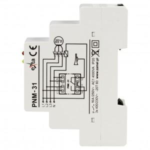 Zamel Exta PNM-31 - Przekaźnik napięciowy kontrolujący napięcie w sieci 3-fazowej, złą kolejną faz oraz asymetrię napięcia (Umin: 170-225V AC, Umax: 235-290V, Toff: 5s) - Podgląd zdjęcia nr 4