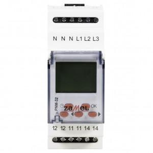 Zamel Exta PNM-32 - Przekaźnik napięciowy kontrolujący napięcie w sieci 3-fazowej, złą kolejną faz oraz asymetrię napięcia z wyświetlaczem LCD (Umin: 170-225V AC, Umax: 235-290V, Toff: 2s-15s) - Podgląd zdjęcia nr 2