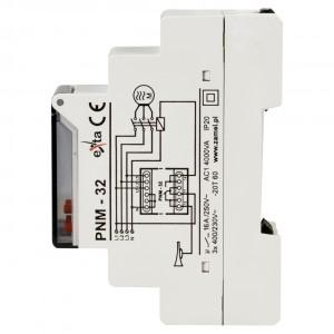 Zamel Exta PNM-32 - Przekaźnik napięciowy kontrolujący napięcie w sieci 3-fazowej, złą kolejną faz oraz asymetrię napięcia z wyświetlaczem LCD (Umin: 170-225V AC, Umax: 235-290V, Toff: 2s-15s) - Podgląd zdjęcia nr 4