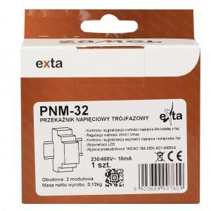 Zamel Exta PNM-32 - Przekaźnik napięciowy kontrolujący napięcie w sieci 3-fazowej, złą kolejną faz oraz asymetrię napięcia z wyświetlaczem LCD (Umin: 170-225V AC, Umax: 235-290V, Toff: 2s-15s) - Podgląd zdjęcia nr 5