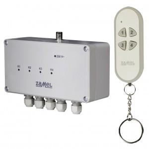 Zamel Exta Free RWS-311C/Z - Bezprzewodowy, radiowy wyłącznik sieciowy 4-kanałowy w komplecie z pilotem (16A/4000W, 230V AC) - Podgląd zdjęcia nr 1