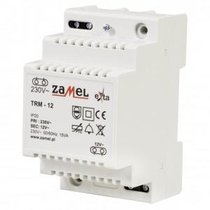 Zamel Exta TRM-12 - Transformator 12VAC/1,25A/15VA, Montaż natynkowy lub na szynie TH - Podgląd zdjęcia nr 1