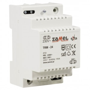 Zamel Exta TRM-24 - Transformator 24VAC/0,625A/15VA, Montaż natynkowy lub na szynie TH - Podgląd zdjęcia nr 3